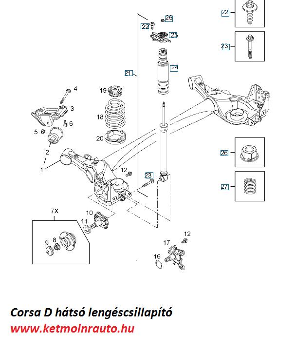 Opel Corsa D hátsó lengéscsillaptó csere